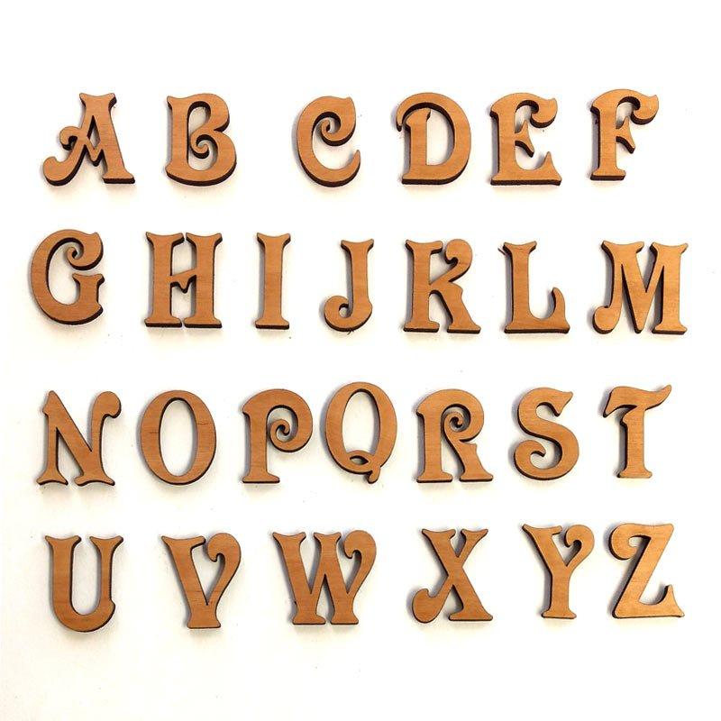 Victorian Script Wood Craft Letters- Whole Alphabet