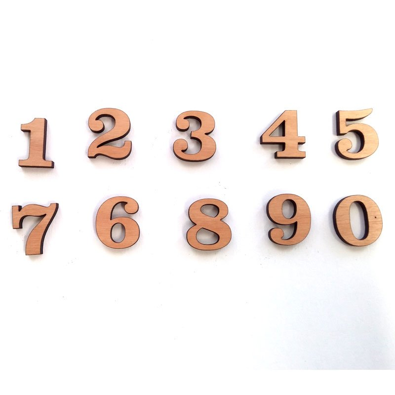 Wood Craft Numbers, 0 through 9 in Clarendon BT Font