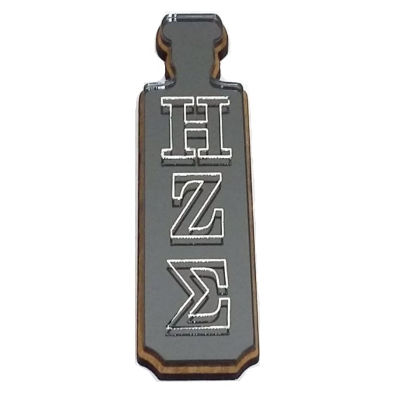 Custom Greek Letter Keychain with Engraved Acrylic Front and Wood Backing