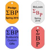 Custom Greek Letters Dog Tag. Samples of Available Layouts shown.