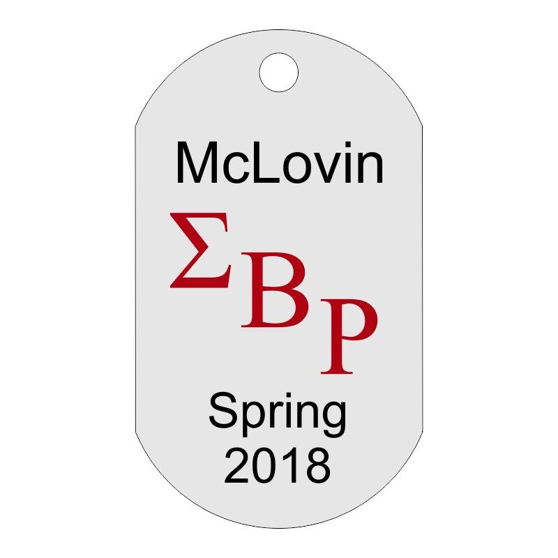 Custom Greek Letters Dog Tag Sample, Showing Fraternity or Sorority Letters Diagonally With Custom Text Above and Below.