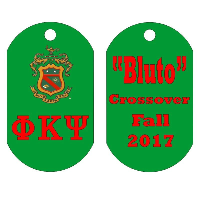 Custom Greek Letters Dog Tag Sample, Showing a Fully Customizable Layout.