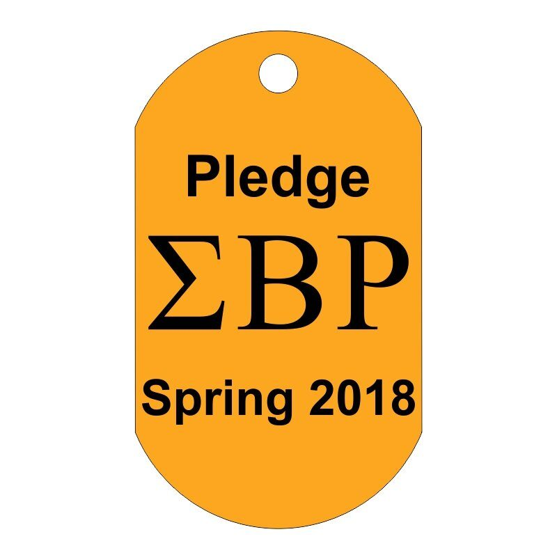 Custom Greek Letters Dog Tag Sample, Showing Fraternity or Sorority Letters Horizontally With Custom Text Above and Below.