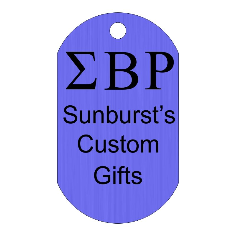 Custom Greek Letters Dog Tag Sample, Showing Fraternity or Sorority Letters Horizontally on Top With Three Lines of Custom Text Below.