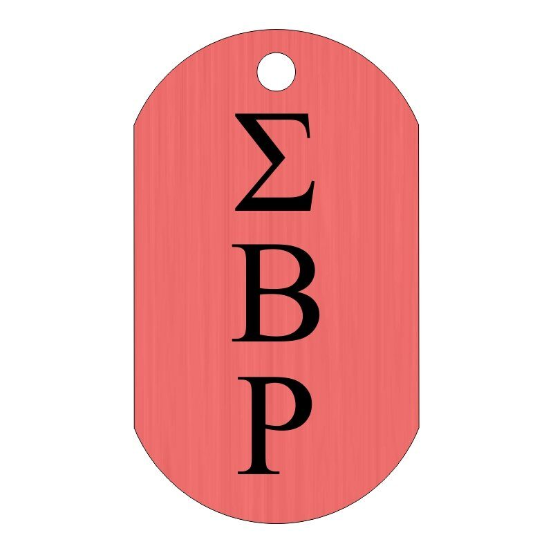 Custom Greek Letters Dog Tag Sample, Showing Fraternity or Sorority Letters Vertically Down The Front.