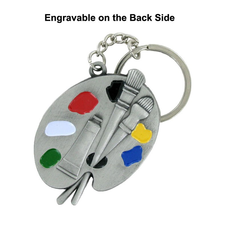 Engravable Artist Pallet Keychain
