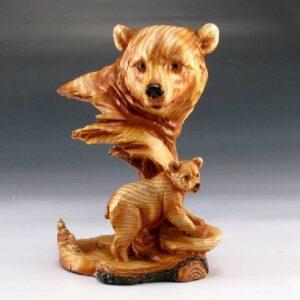 Carved Bear Head With Baby Bear Cub Figurine