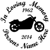 In Memory of a Lost Loved One Motorcycle Vinyl Decal in Black.