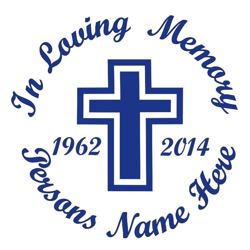 In Memory of a Lost Loved One Cross Themed Vinyl Decal in Blue.