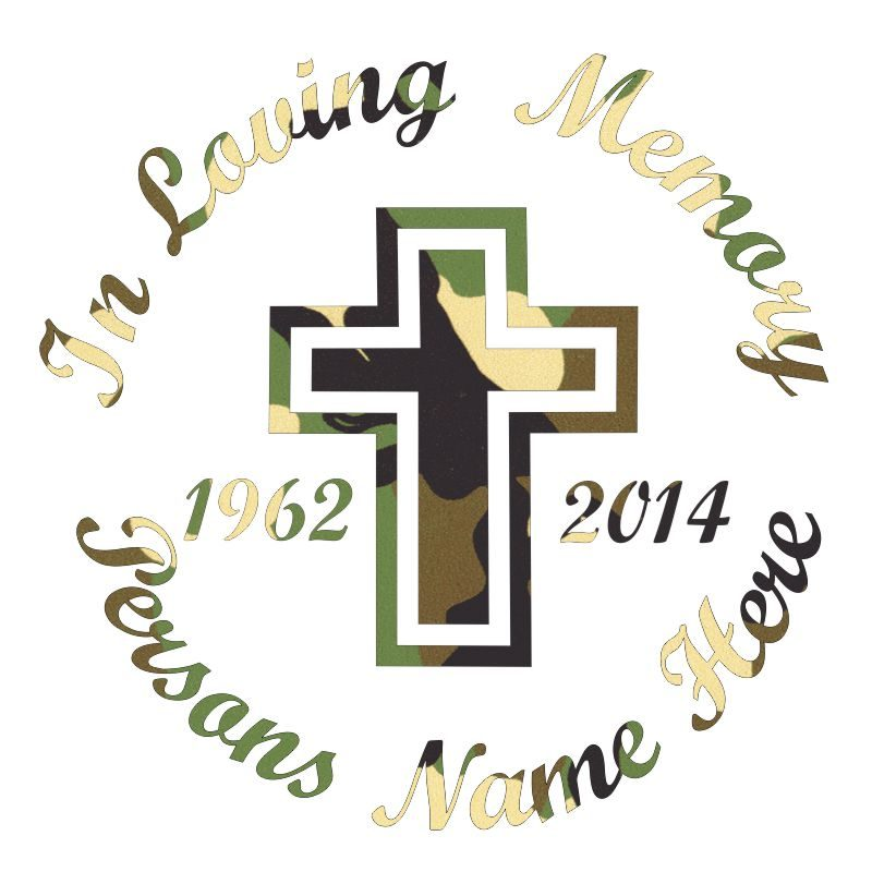 In Memory of a Lost Loved One Cross Themed Vinyl Decal in Camo.