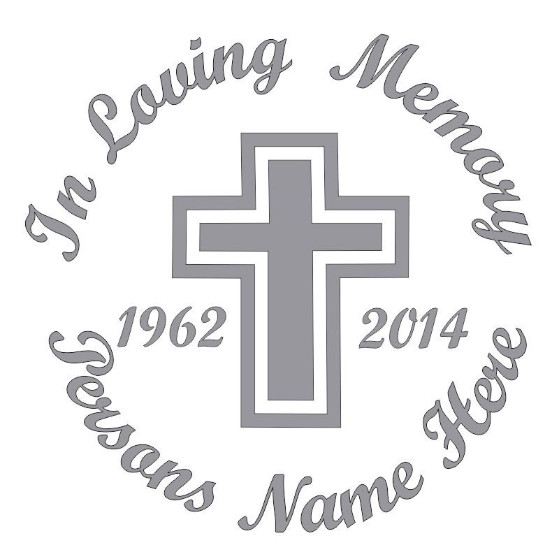 In Memory of a Lost Loved One Cross Themed Vinyl Decal in Gray.