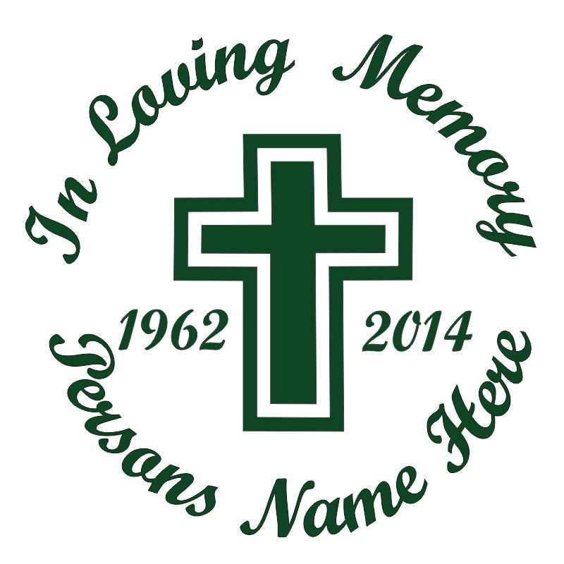 In Memory of a Lost Loved One Cross Themed Vinyl Decal in Green.