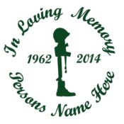 In Memory of a Lost Soldier or Military Service Member Vinyl Decal in Green