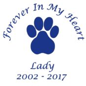In Memory Of a Lost Pet, Paw Print Vinyl Decal in Blue.