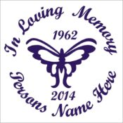 In Loving Memory Butterfly Vinyl Decal in Purple.