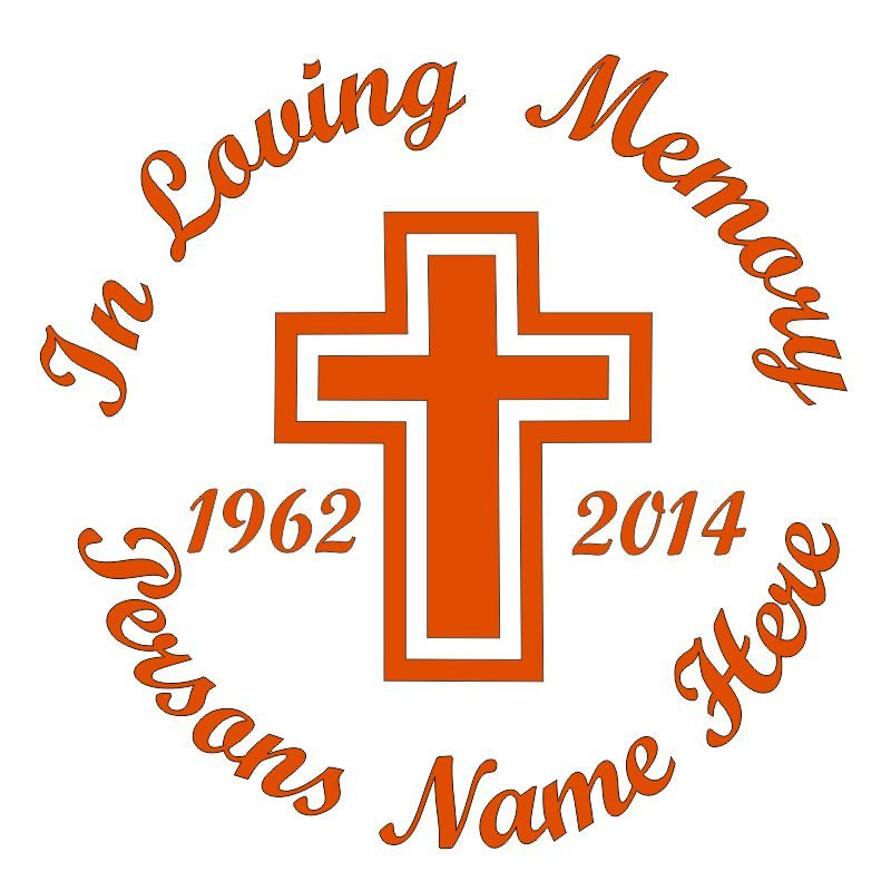 In Memory of a Lost Loved One Cross Themed Vinyl Decal in Orange.