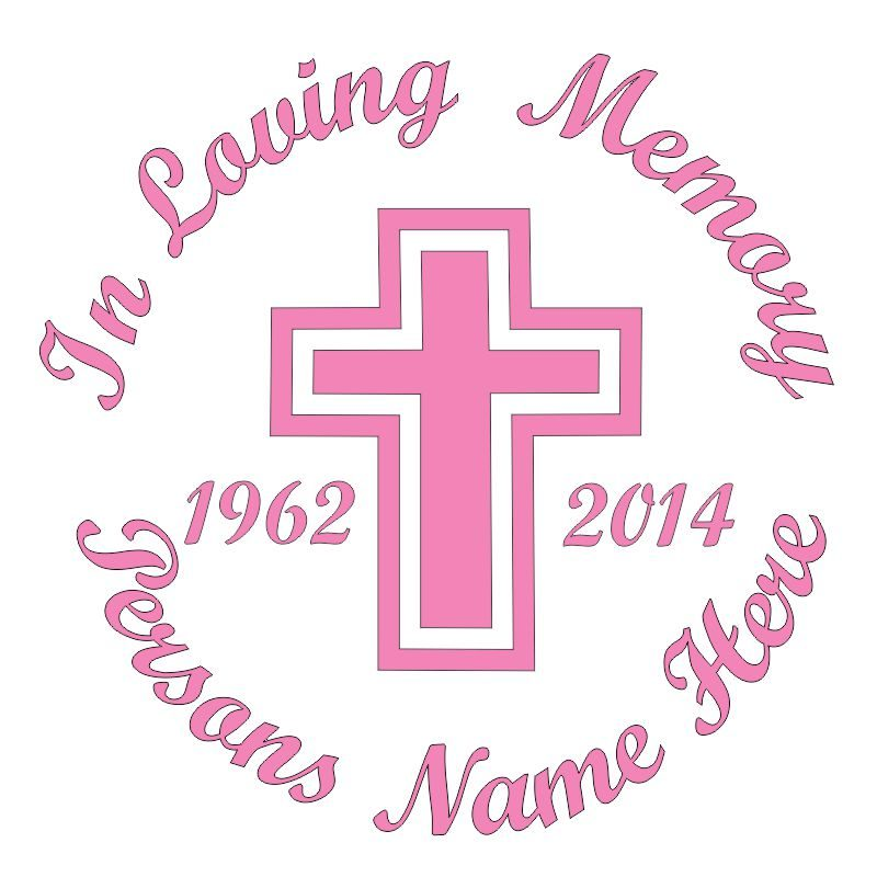 In Memory of a Lost Loved One Cross Themed Vinyl Decal in Pink.