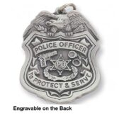 Engravable Police Badge Keychain