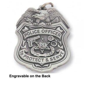 Police Badge Engravable Keychain