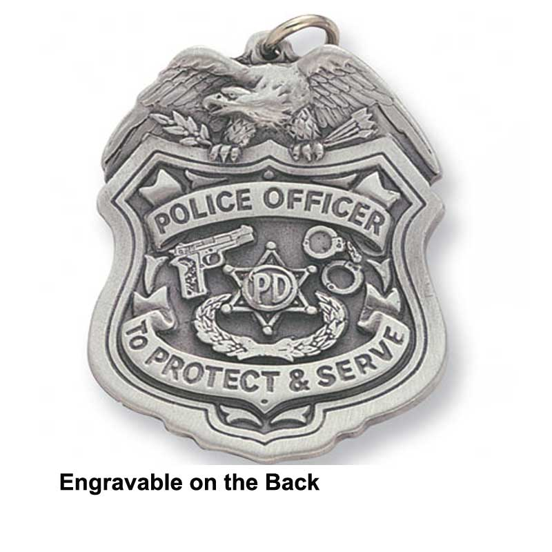 Engravable Police Badge Keychain