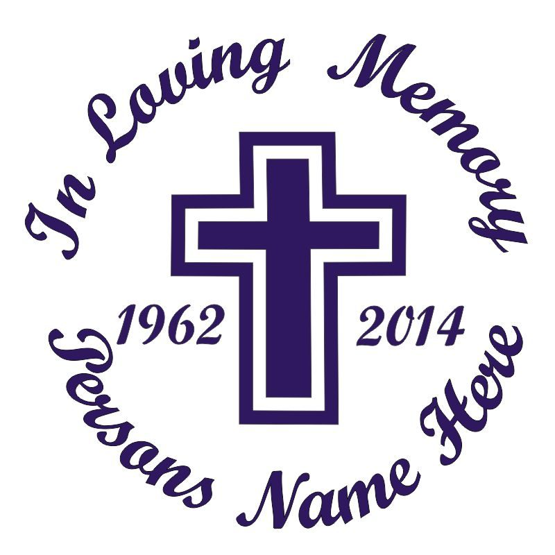 In Memory of a Lost Loved One Cross Themed Vinyl Decal in Purple.