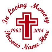 In Memory of a Lost Loved One Cross Themed Vinyl Decal in Red.