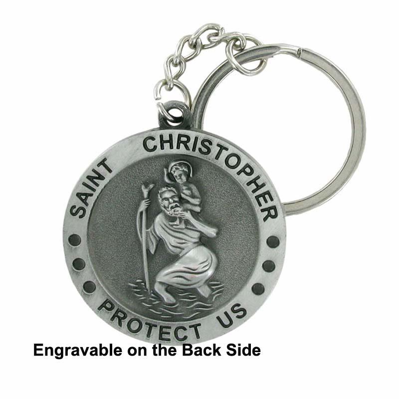 Engravable Saint Christopher Medal Keychain