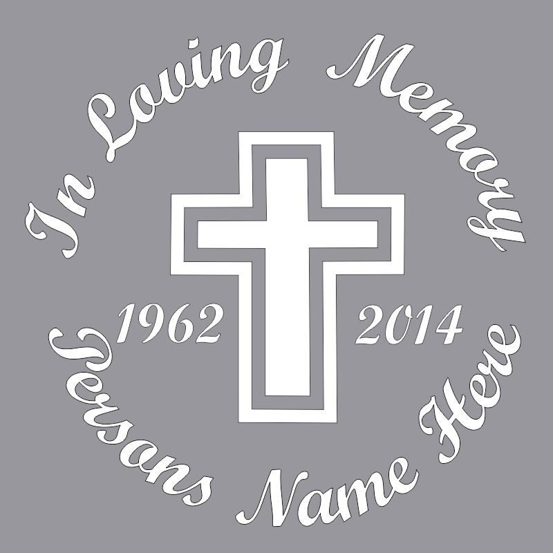 In Memory of a Lost Loved One Cross Themed Vinyl Decal in White.