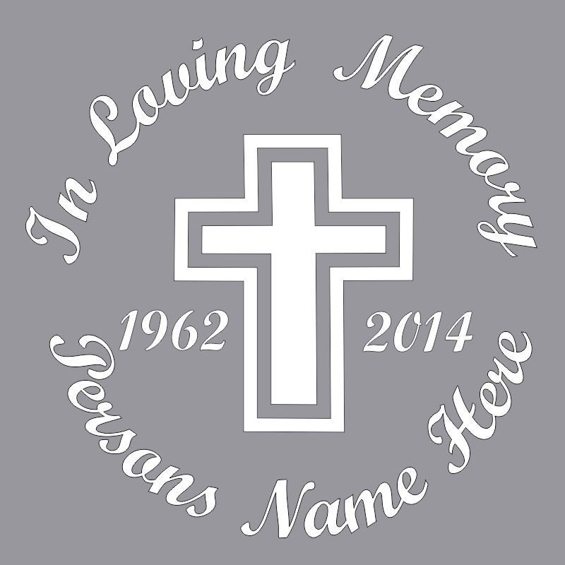 In Loving Memory Cross Design Car Wall Decal Sunburst