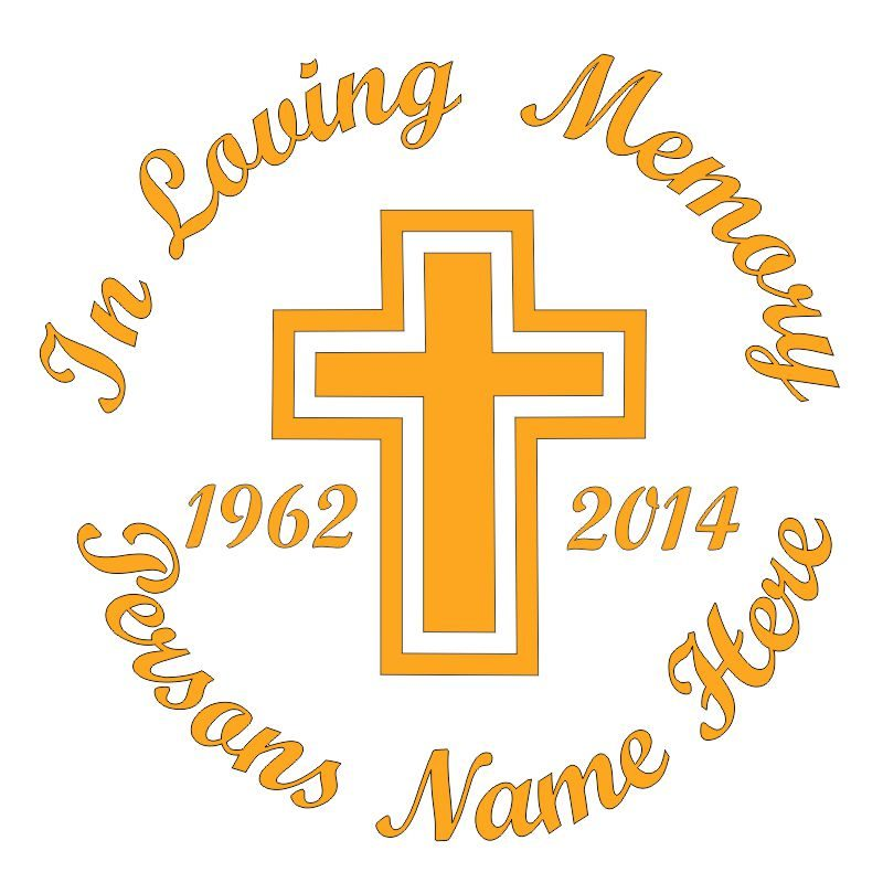 In Memory of a Lost Loved One Cross Themed Vinyl Decal in Yellow.