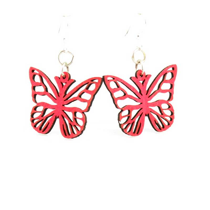 Wooden Butterfly Blossom earrings laser cut from sustainably harvested wood, rose colored with water-based dye. Made in the USA.