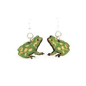 Laser Cut Frog Wooden Earrings