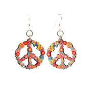 Full color Flower Blossom Printed Wooden Peace Sign earrings, laser cut from sustainably harvested wood. Made in the USA.