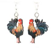 Full color Wooden Rooster earrings, laser cut from sustainably harvested wood. Made in the USA.