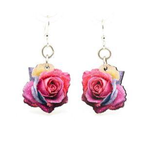 Full Color Rose Blossom Print Wooden Earrings