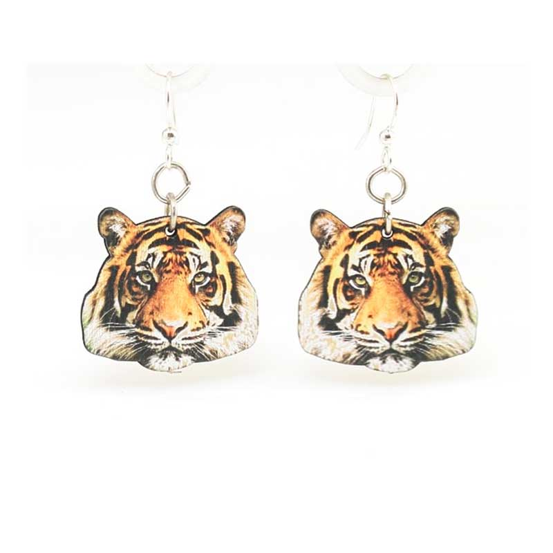 Full color Wooden Tiger Head earrings, laser cut from sustainably harvested wood. Made in the USA.