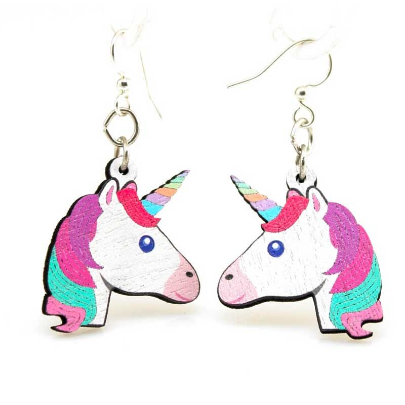 Full color Wooden Unicorn Head earrings, laser cut from sustainably harvested wood. Made in the USA.