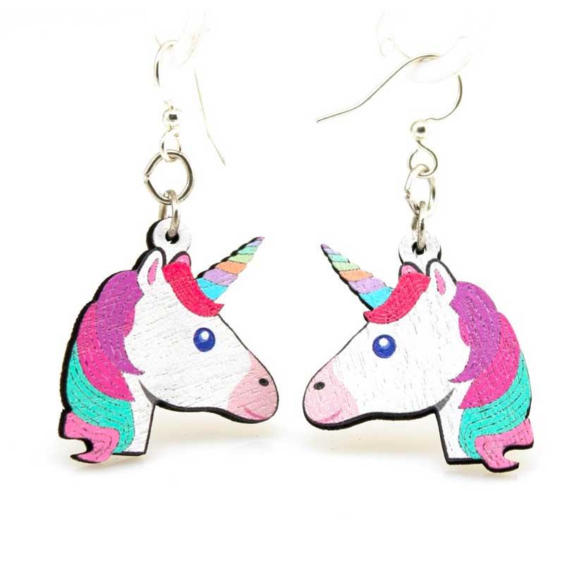 Full Color Unicorn Print Wooden Earrings Sunburst