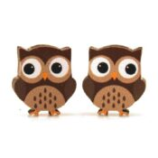Full color Wooden Owl earrings, laser cut from sustainably harvested wood. Made in the USA.