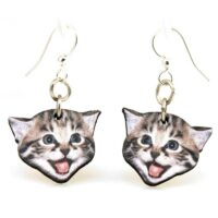 Full color Wooden Kitten Head earrings, laser cut from sustainably harvested wood. Made in the USA.