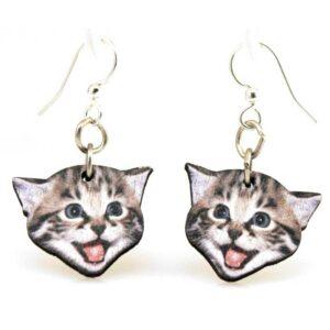 Full Color Playful Kitten Head Wooden Earrings