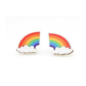 Full Color Rainbow Print Wooden Earrings