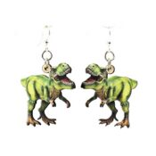 Full color Wooden T-Rex earrings, laser cut from sustainably harvested wood. Made in the USA.