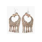 Wooden Giraffe Heart earrings laser cut from sustainably harvested wood, Cinnamon colored with water-based dye. Made in the USA.