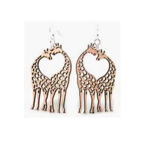 Laser Cut Giraffe Heart Wooden Earrings