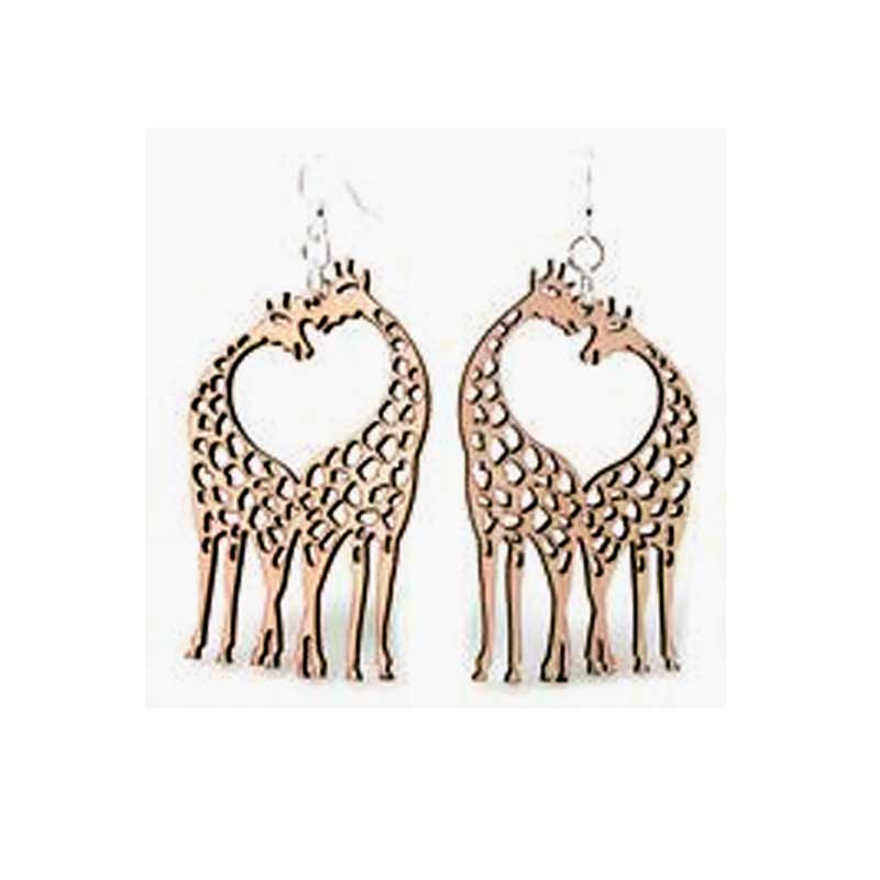 Wooden Giraffe Heart Earrings Laser Cut From Sustainably Harvested Wood Cinnamon Colored With Water