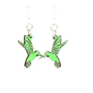 Laser Cut Humming Bird Wooden Earrings