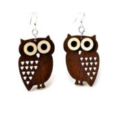 Wooden Little Owl earrings laser cut from sustainably harvested wood, colored brown with water-based dye. Made in the USA.