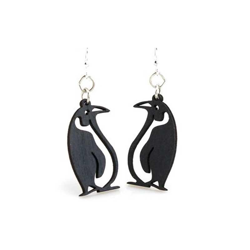 Laser Cut Penguin Wooden Earrings - Sunburst Reflections