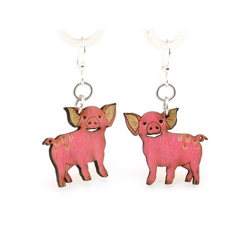 Wooden Piglet Earrings Laser Cut From Sustainably Harvested Wood Colored Pink With Water Based